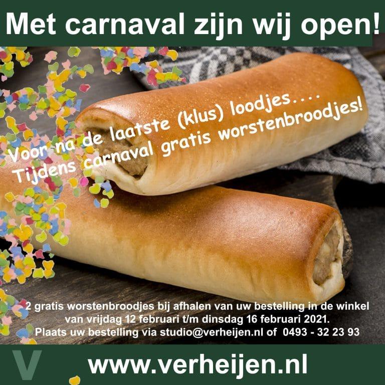 gratis worstenbroodjes tijdens carnaval