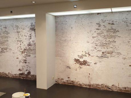 Foto behang baksteen verweerd wit